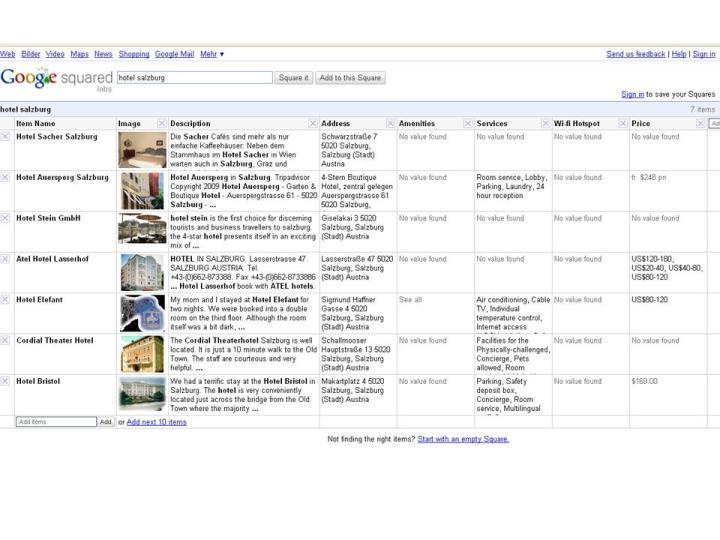 Hotelmatrix von Google